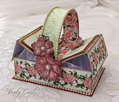 "Here is a tutorial on how I made this Picnic Basket Boxfor my DT project at Heartfelt Creations.  Cut a piece of white card 8 3/4"" x 10 3/4""and score 2"" along each side.This will form the box base.  C"