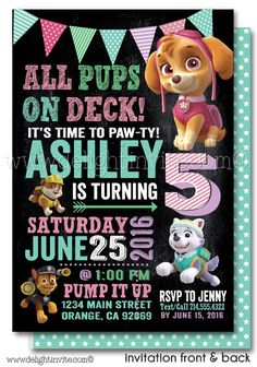 Printable Digital Girl Skye Paw Patrol Birthday Invitation [DI-637DP] : Custom Invitations and Announcements for all Occasions, by Delight Invite
