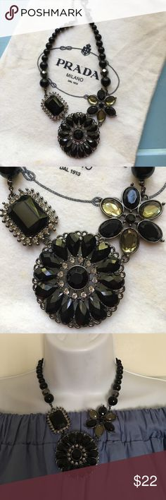 New jeweled black chunky statement necklace. So Chic!! New without tags jeweled black statement necklace. Adjustable clasp. Pendant can also be worn as a brooch. Jewelry Necklaces