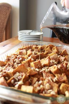 Overnight Baked Pumpkin French Toast. This would be a hit for brunch or a morning tailgate party.