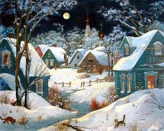"Photo from album ""Полнолуние"" on Yandex. Illustration Noel, Winter Illustration, Christmas Illustration, Christmas Scenes, Christmas Art, Winter Christmas, Winter Pictures, Christmas Pictures, Winter Szenen"