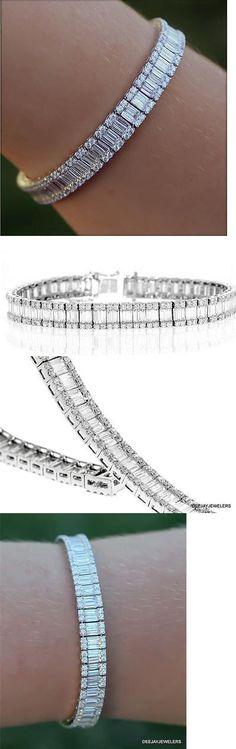 Diamond 10976: Diamond Tennis Bracelet 10Ct Baguette 18K White Gold Vs1 E Channel -> BUY IT NOW ONLY: $9999.0 on eBay!