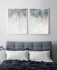 Pink grey wall art, printable art, bedroom print set, set of two print, blu Gray Bedroom Walls, Bedroom Wall Colors, Bedroom Prints, Grey Walls, Wall Art For Bedroom, Blush Grey Bedroom, Bedroom Decor Grey Pink, Grey Bedrooms, Trendy Bedroom