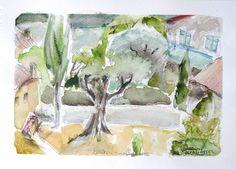 aquarelle originale Olivier village en PROVENCE par Cheval2couleur