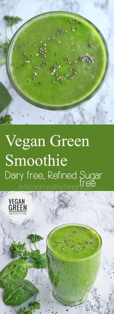 A fresh and healthy Vegan Green smoothie that is loaded with nutrients.This smoothie is a great way to boost your immune system.