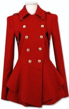 Chaqueta de lana doble botonadura-Rojo EUR€60.21