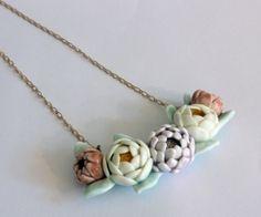 Julie Moon porcelain flower necklace.