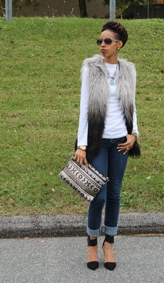 fall outfit: faux fur vest and sequin clutch from francesca's.