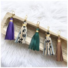 Leather tassel keychains!! Cowhide & turquoise