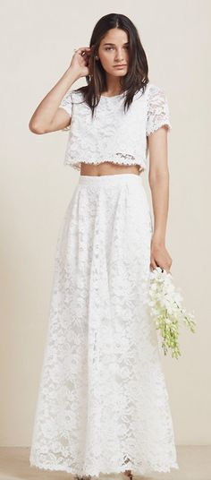 Reformation crop top wedding dress