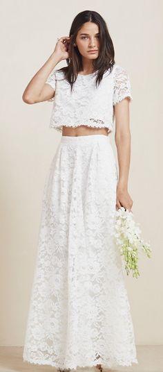 Reformation crop top wedding dress