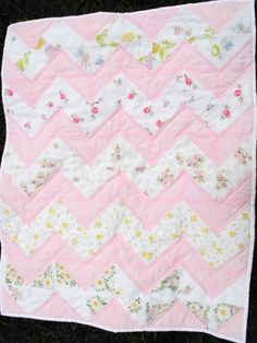 pink floral chevron baby quilt (vintage sheets) by lusciouslemon on Etsy https://www.etsy.com/listing/163805153/pink-floral-chevron-baby-quilt-vintage