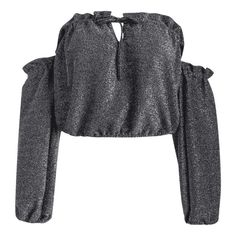 Off The Shoulder Ruffled Glitter Crop Blouse ($15) ❤ liked on Polyvore featuring tops, blouses, shirts, off shoulder blouse, gray crop top, ruffle blouse, grey blouse and ruffle crop top