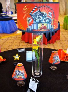 Night at the Movies/Oscar Night Themed Bar Mitzvah Table Topper Centerpiece