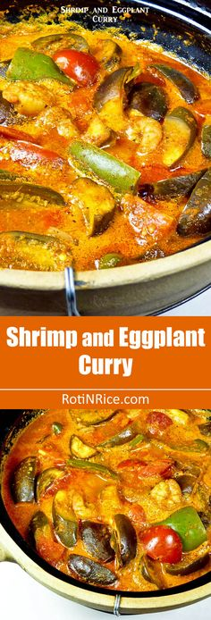 This spicy tangy Shrimp and Eggplant Curry is delicious served with steamed rice and papadums. Can be prepared in 30 minutes. Curry Recipes, Veggie Recipes, Fish Recipes, Seafood Recipes, Indian Food Recipes, Asian Recipes, Cooking Recipes, Healthy Recipes, Ethnic Recipes