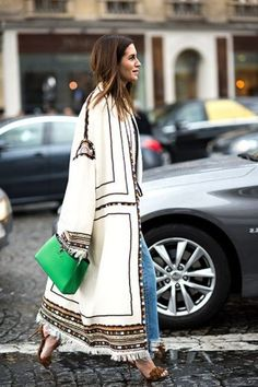 Best Street Style Paris Fashion Week - oversized embroidered kimono overcoat with denim and sandals – casual fall outfit, winter outfit, - Best Street Style, Street Style Outfits, Looks Street Style, Street Style Trends, Looks Style, Street Styles, Street Chic, Street Mall, Street Outfit