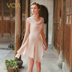 a71a21a8350c60 VOA summer100 pure chiffon silk irregular double layer dress for women light  blue and pink sleeveless