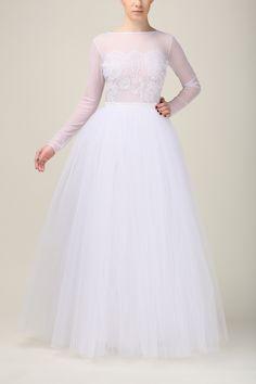 Bluzka z tiulu elastycznego i koronki B065 biała - Fanfaronada - Topy damskie