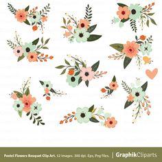 Pastel Flowers Bouquet Clip Art Flower By Graphikcliparts On Etsy