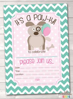 Girls Puppy Dog Party Printable Birthday Party Invitation – Instant Download Printable PDF