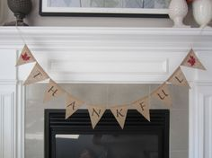 Thankful burlap banner Thanksgiving banner by willowbloomwreaths