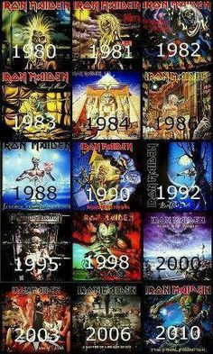IRON MAIDEN albums, not including live ones. Still the best IMHO is the first one! The worst are 1995 and 1998 when Blaze Bayley took over from Bruce, though I'm not blaming Blaze; they just weren't very good. Bruce returned for millennial offering Brave New World which is a great album. Long live the Irons.