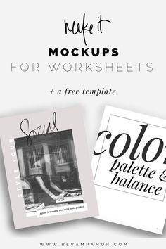 Make your own worksheet of ebook mockups- using canva!  DIY Design for bloggers & entrepreneurs from Revamp, Amor Design Studio