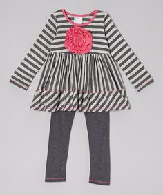 Take a look at this Gray & Charcoal Stripe Rosette Tunic & Leggings - Toddler & Girls by Freckles + Kitty on #zulily today!