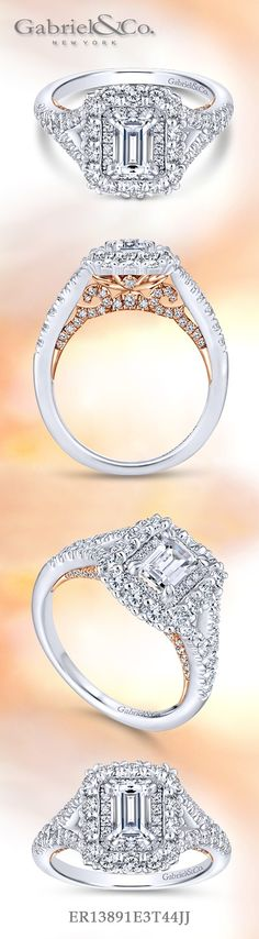 Gabriel & Co.-Voted #1 Most Preferred Fine Jewelry and Bridal Brand. 14k White/Rose Gold Emerald Cut Double Halo Engagement Ring