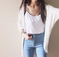 Destroyed jeans or high rise jeans, white tank, black bralette with white cardigan and red vans or converse