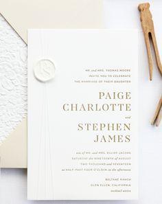 Refined Modern Neutral Letterpress Wedding Invitations by Bourne Paper Co.