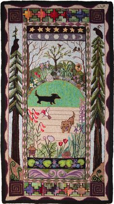 Garden Azeri rug designed & hooked by Laura Pierce///// love the Doxies