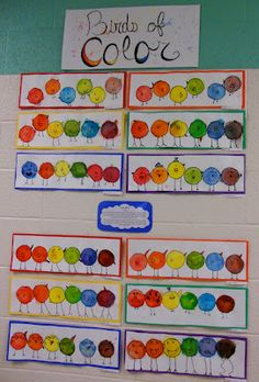Grade Art: Color Birds - used only primary color Payons then added water to . - Grade Art: Color Birds – used only primary color Payons then added water to mix - First Grade Art, 2nd Grade Art, Fourth Grade, Kindergarten Art Lessons, Art Lessons Elementary, Color Secundario, Creation Art, School Art Projects, Projects For Kids