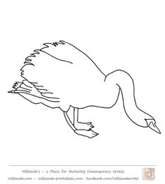 line art swan outline picture from our printable line art for mixed media artists at www