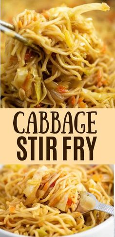 Easy and delicious ramen noodle cabbage stir fry recipe with carrots, stir fry sauce, and fresh garlic and onion. Serve topped with sweet chili sauce for the perfect bite! dinner recipes vegetarian Ramen Noodle Cabbage Stir Fry Recipe - Build Your Bite Stir Fry Recipes, Veggie Recipes, Vegetarian Recipes, Cooking Recipes, Healthy Recipes, Healthy Food, Easy Cabbage Recipes, Vegetarian Italian, Recipe For Fried Cabbage