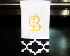 Black and White Quatrefoil Monogrammed Dish Towel by DesignsByThem