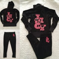"Juicy Couture black velour set sz M  Juicy Couture black velour set sz M  good used condition, pants are skinny, length/inseam is 27"", zippers at bottom of pant legs, the overall black and screen print on back of jacket is slightly lighter than pants and screen print on pants Juicy Couture Other"