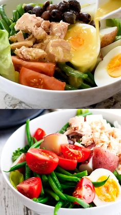 Easy and Delicious Nicoise Salad - Pinch and Swirl Nicoise Salad Dressing, Tuna Nicoise Salad, Salad Dressing Recipes, Salade Nicoise Recipe, Panzanella Salad Recipe, Cold Lunch Recipes, Chicken Lunch Recipes, Healthy Dinner Recipes, Salad Recipes Video