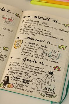 Weekly Daily planner in bullet journal with quote arrows and drawings Bullet Journal 2019, Journal Diary, My Journal, Bullet Journal Inspiration, Journal Pages, Journals, Fitness Journal, Bujo, Organization Bullet Journal