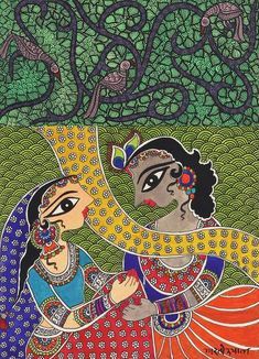 Signed Madhubani Painting of Krishna and Radha - Benevolent Krishna and. Madhubani Paintings Peacock, Madhubani Art, Indian Art Paintings, Indian Folk Art, Indian Artist, Drawing Room Paint, Photography Ideas At Home, Basic Painting, Painting Competition