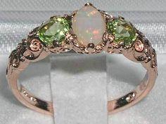 Solid 9ct Rose Gold Fiery Opal Peridot Three Stone Ring | eBay