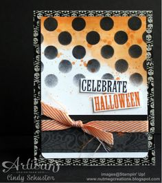 Halloween card using Build a Banner Kit stencil by Cindy Schuster