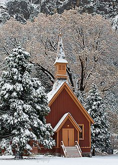Chapel in Snow - Yosemite National Park, California.  Robin Black