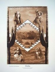 """Original Collage of Images by Edward Curtis """"Feast Day in the Southwest"""""""