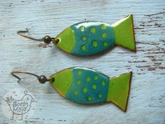These earrings were cut from copper, filed and sanded. Layered and painted with liquid enamel and torch fired several times, fusing glass to metal until the final look is achieved. Each of my products is an original. They are lightweight and subtle. Measurements 4,2 cm / 1.65 long (with hook) 1,4 Ceramic Jewelry, Enamel Jewelry, Copper Jewelry, Polymer Clay Jewelry, Jewelry Crafts, Jewelry Art, Jewelry Accessories, Shrink Art, Vitreous Enamel