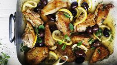 Braised chicken (or use fish)with lemon, oregano and olives. Double but use less stock....great with risoni or quinoa