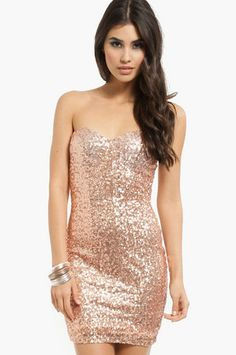 Rose Gold :) omgee I can never have too many sweetheart neckline sequined dresses