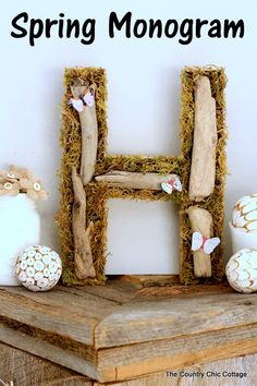 Woodland style spring monogram -- an easy to make addition to your home decor this season!