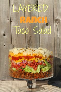Layered Ranch Taco Salad #taco #salad #potluck