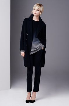 Love the sweater Vince Overcoat, Sweater & Tuxedo Pants Sporty Chic, Casual Chic, Tuxedo Pants, Fashion Corner, Edgy Look, Work Attire, Minimalist Fashion, Pretty Outfits, Winter Outfits